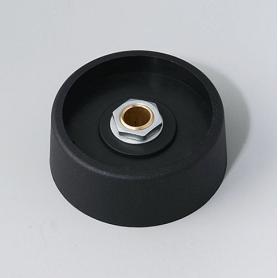 A3140069 / COM-KNOBS 40 - Sin elemento de marcaje - PA 6 - nero - 40x16mm - Orificio de eje 6 mm