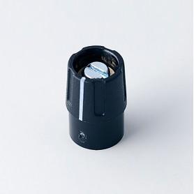 A2609040 / BOTÓN REDONDO ø 9 CON línea - ABS (UL 94 HB) - black RAL 9005 - 9x14mm - Orificio de eje 4mm
