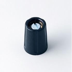 A2510040 / BOTÓN REDONDO ø 10 SIN línea - ABS (UL 94 HB) - black RAL 9005 - 10x14mm - Orificio de eje 4mm