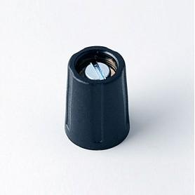 A2510320 / BOTÓN REDONDO ø 10 SIN línea - ABS (UL 94 HB) - black RAL 9005 - 10x14mm - Orificio de eje 1/8″