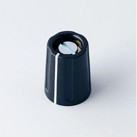 A2610030 / BOTÓN REDONDO ø 10 CON línea - ABS (UL 94 HB) - black RAL 9005 - 10x14mm - Orificio de eje 3mm