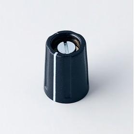 A2610320 / BOTÓN REDONDO ø 10 CON línea - ABS (UL 94 HB) - black RAL 9005 - 10x14mm - Orificio de eje 1/8″