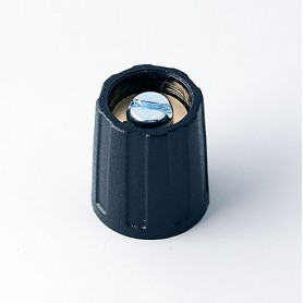 A2513040 / BOTÓN REDONDO ø 13.5 SIN línea - ABS (UL 94 HB) - black RAL 9005 - 13x15mm - Orificio de eje 4mm
