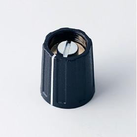 A2613040 / BOTÓN REDONDO ø 13.5 CON línea - ABS (UL 94 HB) - black RAL 9005 - 13x15mm - Orificio de eje 4mm