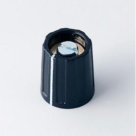 A2613060 / BOTÓN REDONDO ø 13.5 CON línea - ABS (UL 94 HB) - black RAL 9005 - 13x15mm - Orificio de eje 6mm