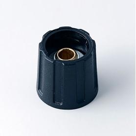 A2516040 / BOTÓN REDONDO ø 16 SIN línea - ABS (UL 94 HB) - black RAL 9005 - 16x15mm - Orificio de eje 4mm