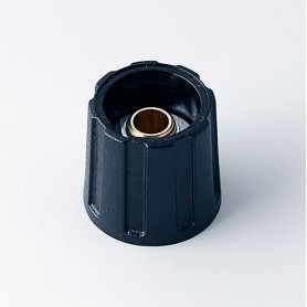 A2516060 / BOTÓN REDONDO ø 16 SIN línea - ABS (UL 94 HB) - black RAL 9005 - 16x15mm - Orificio de eje 6mm