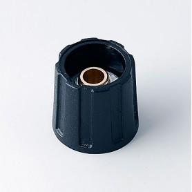 A2516630 / BOTÓN REDONDO ø 16 SIN línea - ABS (UL 94 HB) - black RAL 9005 - 16x15mm - Orificio de eje 1/4″