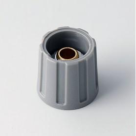 A2516638 / BOTÓN REDONDO ø 16 SIN línea - ABS (UL 94 HB) - dusty grey RAL 7037 - 16x15mm - Orificio de eje 1/4″