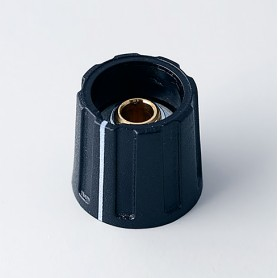 A2616040 / BOTÓN REDONDO ø 16 CON línea - ABS (UL 94 HB) - black RAL 9005 - 16x15mm - Orificio de eje 4mm
