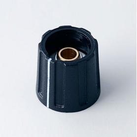 A2616060 / BOTÓN REDONDO ø 16 CON línea - ABS (UL 94 HB) - black RAL 9005 - 16x15mm - Orificio de eje 6mm