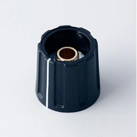 A2616630 / BOTÓN REDONDO ø 16 CON línea - ABS (UL 94 HB) - black RAL 9005 - 16x15mm - Orificio de eje 1/4¨