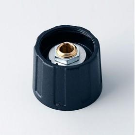 A2520040 / BOTÓN REDONDO ø 20 SIN línea - ABS (UL 94 HB) - black RAL 9005 - 20x15mm - Orificio de eje 4mm