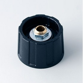 A2523040 / BOTÓN REDONDO ø 23 SIN línea - ABS (UL 94 HB) - black RAL 9005 - 23x15mm - Orificio de eje 4mm