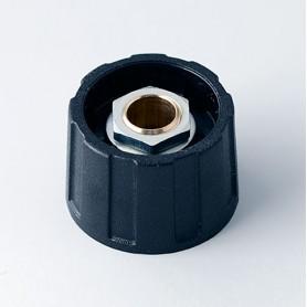A2523630 / BOTÓN REDONDO ø 23 SIN línea - ABS (UL 94 HB) - black RAL 9005 - 23x15mm - Orificio de eje 1/4″
