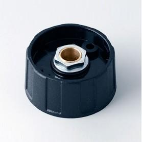 A2531630 / BOTÓN REDONDO ø 31 SIN línea - ABS (UL 94 HB) - black RAL 9005 - 31x15mm - Orificio de eje 1/4″