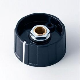 A2631060 / BOTÓN REDONDO ø 31 CON línea - ABS (UL 94 HB) - black RAL 9005 - 31x15mm - Orificio de eje 6mm