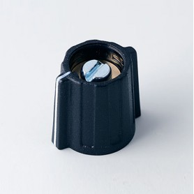 A2813060 / BOTÓN DE MARIPOSA ø 13.5 CON línea - ABS (UL 94 HB) - black RAL 9005 - 13x15mm - Orificio de eje 6mm