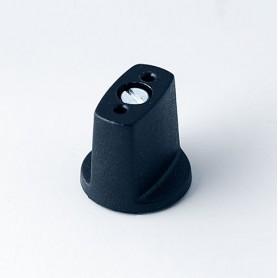 A2316040 / MULETILLA ø 16 SIN línea - ABS (UL 94 HB) - black RAL 9005 - 16x16mm - Orificio de eje 4mm