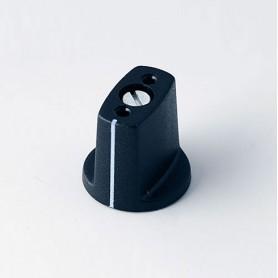 A2416030 / MULETILLA ø 16 CON línea - ABS (UL 94 HB) - black RAL 9005 - 16x16mm - Orificio de eje 3mm