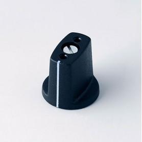 A2416040 / MULETILLA ø 16 CON línea - ABS (UL 94 HB) - black RAL 9005 - 16x16mm - Orificio de eje 4mm