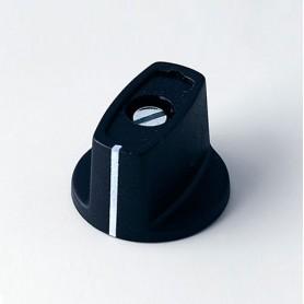 A2423040 / MULETILLA ø 23 CON línea - ABS (UL 94 HB) - black RAL 9005 - 23x16mm - Orificio de eje 4mm