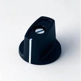 A2423060 / MULETILLA ø 23 CON línea - ABS (UL 94 HB) - black RAL 9005 - 23x16mm - Orificio de eje 6mm