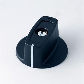 A2431060 / MULETILLA ø 31 CON línea ABS - (UL 94 HB) - black RAL 9005 - 31x16mm - Orificio de eje 6mm