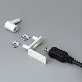 A9320207 / Cubierta para USB: tipo Mini-USB - PP - off-white RAL 9002 - 29,5x8,5mm