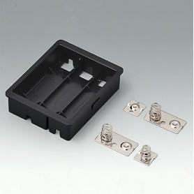 EZ040609 / Compartimento para batería: 3 x AA - ASA+PC-FR (UL 94 V-0) - black RAL 9005