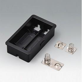 EZ060609 / Compartimento para batería: 2 x AA - ASA+PC-FR (UL 94 V-0) - black RAL 9005