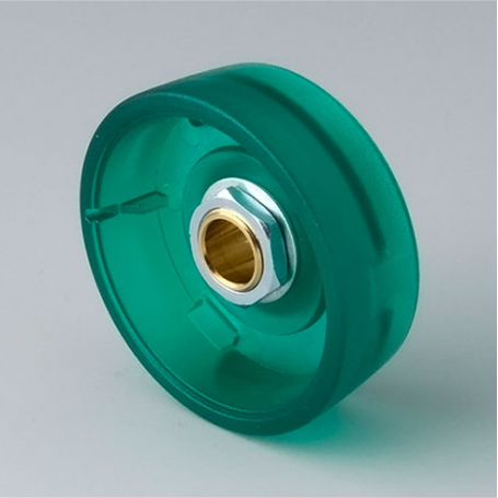 B8233635 / STAR-KNOBS 33 - PC (UL 94 HB)  emerald - 33x14mm - Orificio de eje 1/4″