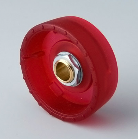 B8333063 / STAR-KNOBS 33 Dentado - PC (UL 94 HB)  ruby - 33x14mm - Orificio de eje 6 mm