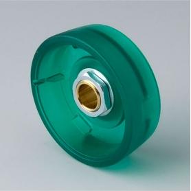 B8241065 / STAR-KNOBS 41 - PC (UL 94 HB)  emerald - 41x14mm - Orificio de eje 6 mm
