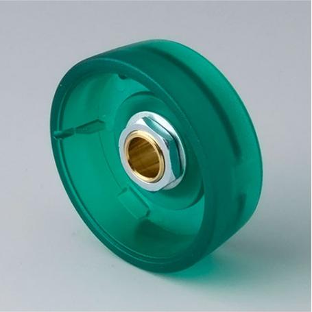 B8241085 / STAR-KNOBS 41 - PC (UL 94 HB)  emerald  - 41x14mm - Orificio de eje 8 mm