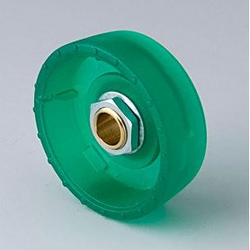 B8341065 / STAR-KNOBS 41 Dentado - PC (UL 94 HB)  emerald - 41x14mm - Orificio de eje 6 mm