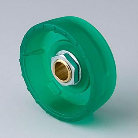 B8341085 / STAR-KNOBS 41 Dentado - PC (UL 94 HB)  emerald - 41x14mm - Orificio de eje 8 mm
