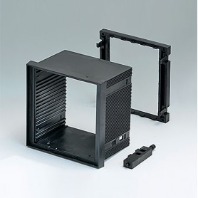 B6034011 / CAJA DIN-MODULAR TIPO A, Vers. I - PPO (UL 94 V-0) - black RAL 9005 - 96x96x57mm