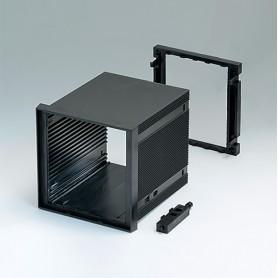 B6034031 / CAJA DIN-MODULAR TIPO A, Vers. I - PPO (UL 94 V-0) - black RAL 9005 - 96x96x100mm