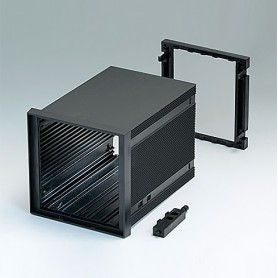 B6034062 / CAJA DIN-MODULAR TIPO A, Vers. II - PPO (UL 94 V-0) - black RAL 9005 - 96x96x124mm