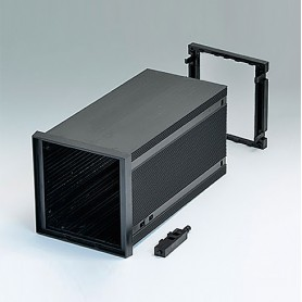 B6034102 / DIN-MODULAR CASE TYPE A, Vers. II - PPO (UL 94 V-0) - black RAL 9005 - 96x96x179mm