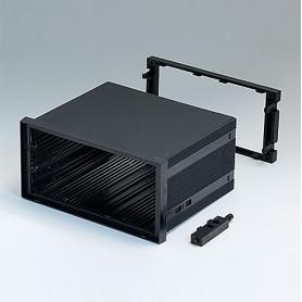 B6043041 / CAJA DIN-MODULAR TIPO A - PPO (UL 94 V-0) - black RAL 9005 - 144x72x109mm