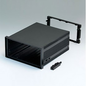 B6043091 / CAJA DIN-MODULAR TIPO A - PPO (UL 94 V-0) - black RAL 9005 - 144x72x156mm