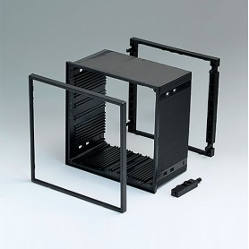 B6045021 / CAJA DIN-MODULAR TIPO A - PPO (UL 94 V-0) - black RAL 9005 - 144x144x75mm