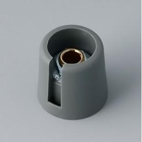 """A3016048 / COM-KNOBS 16 - Con orificio para elemento de marcaje """"Dial"""" 16x16mm - PA 6 - volcano - Orificio de eje 4 mm"""
