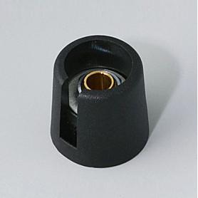 """A3016049 / COM-KNOBS 16 - Con orificio para elemento de marcaje """"Dial"""" 16x16mm - PA 6 - nero - Orificio de eje 4 mm"""
