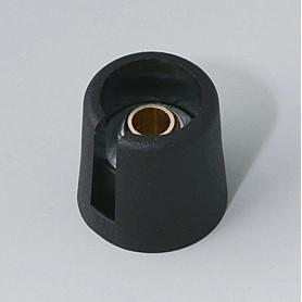 """A3016069 / COM-KNOBS 16 - Con orificio para elemento de marcaje """"Dial"""" 16x16mm - PA 6 - nero - Orificio de eje 6 mm"""