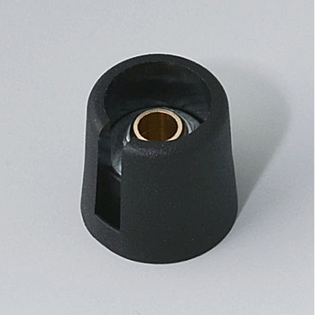 "A3016069 / COM-KNOBS 16 - Con orificio para elemento de marcaje ""Dial"" 16x16mm - PA 6 - nero - Orificio eje 6 mm"