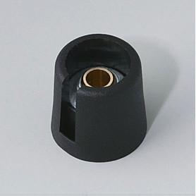 """A3016639 / COM-KNOBS 16 - Con orificio para elemento de marcaje """"Dial"""" 16x16mm - PA 6 - nero - Orificio de eje 1/4"""""""