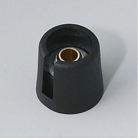 "A3016639 / COM-KNOBS 16 - Con orificio para elemento de marcaje ""Dial"" 16x16mm - PA 6 - nero - Orificio eje 1/4"""
